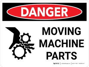 Danger: Moving Machine Parts Landscape with Graphic - Wall Sign