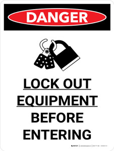 Lock Out Equipment Before Entering Portrait with Graphic - Wall Sign