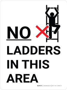 No Ladders In This Area Portrait with Graphic - Wall Sign