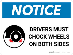Notice: Drivers Must Chock Wheels On Both Sides Landscape with Graphic