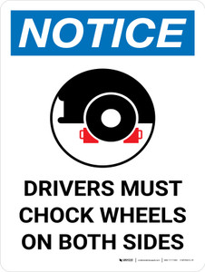 Notice: Drivers Must Chock Wheels On Both Sides Portrait with Graphic