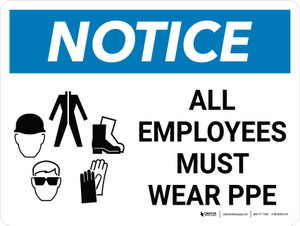 Notice: All Employees Must Wear PPE Landscape with Graphic