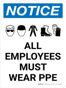 Notice: All Employees Must Wear PPE Portrait with Graphic
