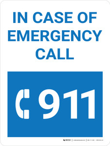 In Case Of Emergency Call 911 Blue Portrait with Graphic - Wall Sign