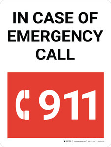 In Case Of Emergency Call 911 Portrait with Graphic - Wall Sign