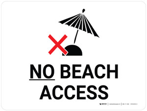 No Beach Access Landscape with Icon - Wall Sign