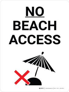 No Beach Access Portrait with Graphic - Wall Sign