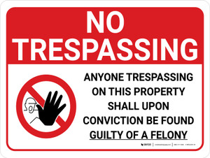No Trespassing: Anyone Trespassing Guilty Of A Felony Landscape with Graphic - Wall Sign