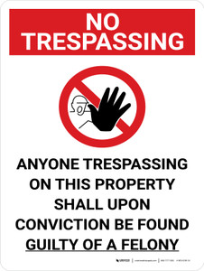 No Trespassing: Anyone Trespassing Guilty Of A Felony Portrait with Graphic - Wall Sign