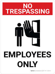 No Trespassing: Employees Only Portrait with Graphic - Wall Sign