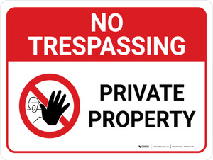 No Trespassing: Private Property Landscape with Graphic - Wall Sign