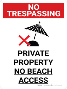 No Trespassing: Private Property No Beach Access Portrait with Graphic - Wall Sign