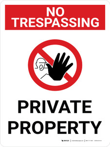 No Trespassing: Private Property Portrait with Graphic - Wall Sign