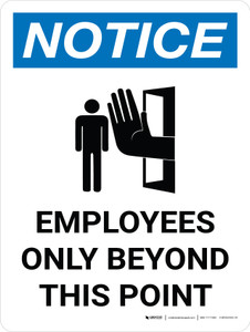 Notice: Employees Only Beyond This Point Portrait with Icon - Wall Sign