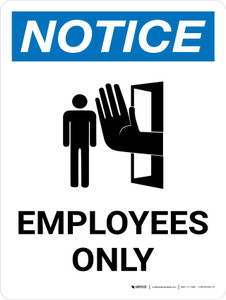 Notice: Employees Only Portrait with Icon - Wall Sign