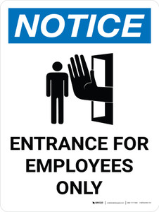 Notice: Entrance For Employees Only Portrait with Icon - Wall Sign