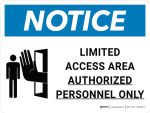 Notice: Limited Access Area - Authorized Personnel Only Landscape with Icon - Wall Sign