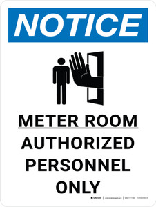 Notice: Meter Room Authorized Personnel Only Portrait with Icon - Wall Sign