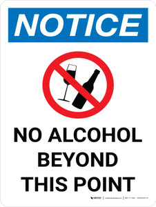 Notice: No Alcohol Beyond This Point Portrait with Icon - Wall Sign