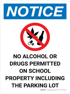 Notice: No Alcohol Or Drugs On School Property Including Parking Lot Portrait with Icon - Wall Sign