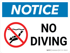 Notice: No Diving Landscape with Icon - Wall Sign