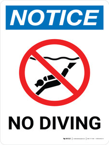 Notice: No Diving Portrait with Icon - Wall Sign