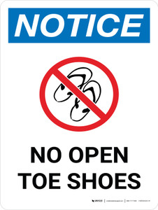 Notice: No Open Toe Shoes Portrait with Icon - Wall Sign