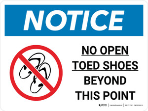 Notice: No Open Toed Shoes Beyond This Point Landscape with Icon - Wall Sign