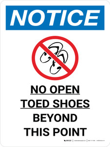 Notice: No Open Toed Shoes Beyond This Point Portrait with Icon - Wall Sign