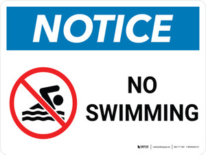 Notice: No Swimming Landscape with Icon - Wall Sign