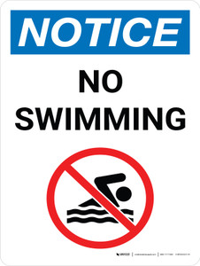 Notice: No Swimming Portrait with Icon - Wall Sign