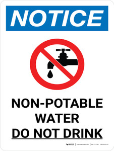 Notice: Non-potable Water Do Not Drink Portrait with Icon - Wall Sign