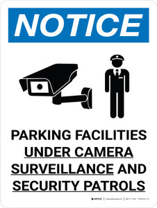 Notice: Parking Facilities Under Camera Surveillance Portrait with Icon - Wall Sign