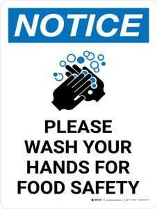 Notice: Please Wash Your Hands For Food Safety Portrait with Icon - Wall Sign