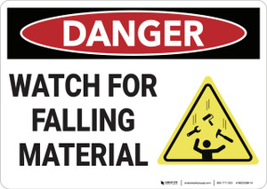 Danger: Watch For Falling Material - Wall Sign