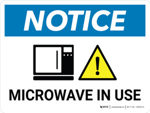 Notice: Microwave In Use Landscape with Icon - Wall Sign