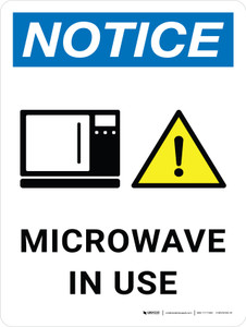 Notice: Microwave In Use Portrait with Icon - Wall Sign