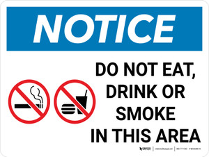 Notice: Do Not Eat Drink Or Smoke In this Area Landscape with Icon - Wall Sign