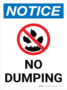 Notice: No Dumping Portrait with Icon - Wall Sign