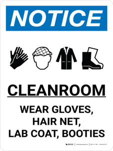Notice: Cleanroom Wear Gloves Hair Net  Portrait with Icon - Wall Sign