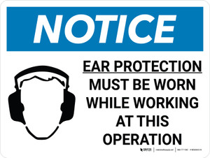 Notice: Ear Protection Must be Worn While Working Operation Landscape with Icon - Wall Sign