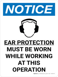 Notice: Ear Protection Must be Worn While Working Operation Portrait with Icon - Wall Sign