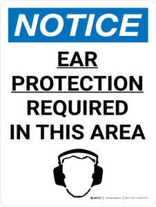 Notice: Ear Protection Required in This Area Portrait with Icon - Wall Sign