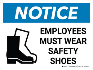 Notice: Employees Must Wear Safety Shoes Landscape with Icon - Wall Sign