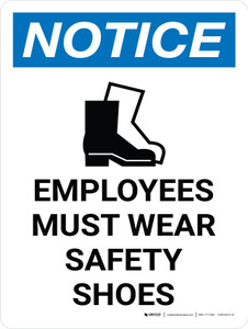 Notice: Employees Must Wear Safety Shoes Portrait with Icon - Wall Sign