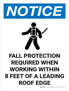 Notice: Fall Protection Required When Working Within Roof Edge Portrait with Icon - Wall Sign