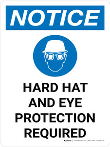 Notice: Hard Hat Eye Protection Required Portrait with Icon - Wall Sign