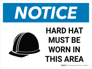 Notice: Hard Hat Must Be Worn In This Area Landscape with Icon - Wall Sign