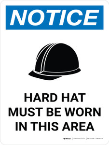 Notice: Hard Hat Must Be Worn In This Area Portrait with Icon - Wall Sign
