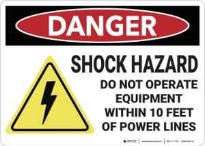 Danger: Shock Hazard Do Not Operated Equipment - Wall Sign